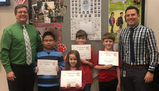 Congratulations to the Van Wert Elementary School students chosen for the Word of the Week award!  Pictured with Mr. Gehres, Principal, and Mr. Krogman, Assistant Principal, are students recognized for being considerate of others and their feelings.  Award winners this week are Ethan, grade 1; Shyanne, grade 2; Wei Xin, grade 3; Robert, grade 4; and Devin, grade 5 (not pictured).  Each child received a free Mighty Kids Meal from our local McDonalds, a free taco from our local Taco Bell, and a certificate from WERT Radio. (Photo submitted.)