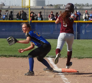 Lincolnview's Zoe Miller records an out at first base. Scott Truxell/Van Wert independent