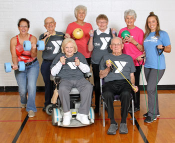 The YMCA will hold a Senior Fitness open house on April 20 and 25, from 10:30 a.m.-noon, by entering door 9. The event is open to the public. Shown above are current members and staff of the Senior Fitness Program offered at the YMCA. (YMCA photo)