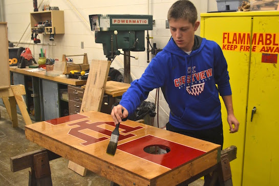 Sophomore Derick Dealey works on his woodshop project in second period and also plans to take woodshop again next year with Mrs. Kirkpatrick.  (Photo submitted.)