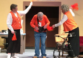 Uncle Aubrey (Burdette Bolenbaugh) certainly has a way with the ladies in Van Wert Civic Theatre's production of The Last Roundup of the Guacamole Queens. (photo submitted)