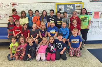 Some Lincolnview students involved in the Buddy Bench project pose here.