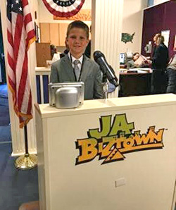Lincolnview fifth-grader pictured at JA Biz Town.