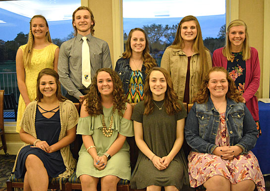 Nine seniors will be awarded honors diplomas Sunday, May 21. They include (front row, from the left) Kayla Schroeder, Allison Berryman, Zania Hasty, and McKenzie Davis; (back row) Zoe Miller, Nick Motycka, Kaytlynn Gellenbeck, Katlyn Wendel, and Brooke Thatcher. Students receiving honors diplomas will be denoted with gold cords.