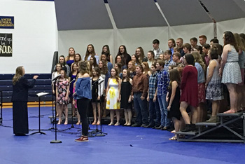 The junior high and high school choirs, as well as the select ensemble and the high school boys perform at the spring choral concert. The choirs were under the direction of Stacie Korte. (Lincolnview photo)