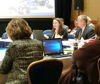 Van Wert High School student Madison Pauquette (center) speaks during a meeting of the American Federation of Teachers in Washington, D.C., while Van Wert Federation of Teachers President Jeff Hood looks on. (photo submitted)