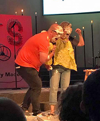 Craig Alex and Carrie Paquette react after receiving pies in the face as part of a fundraiser at Calvary Evangelical Church in Van Wert. (photo submitted)